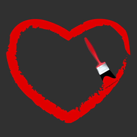 Vector - Heart shaped symbol formed by a paint with a paint brush in red. Concept:  Vector
