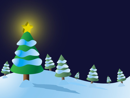 brightly lit: Vector - Christmas tree forest with snow and brightly lit star.