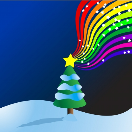 Vector - Christmas tree filled with snowf and star burst rainbow. Vector