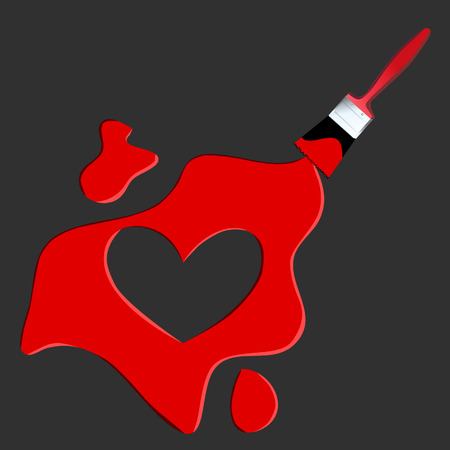 Vector - Heart shaped symbol formed by a paint with a paint brush in red. Concept: Stock Vector - 2197674