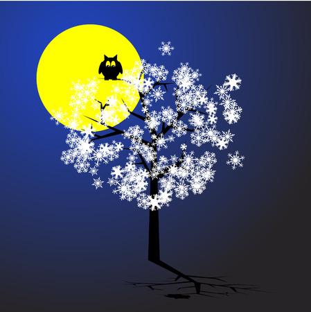 Vector - Weihnachtsbaum mit Schneeflocken mit einem Mond im Hintergrund Vektorgrafik