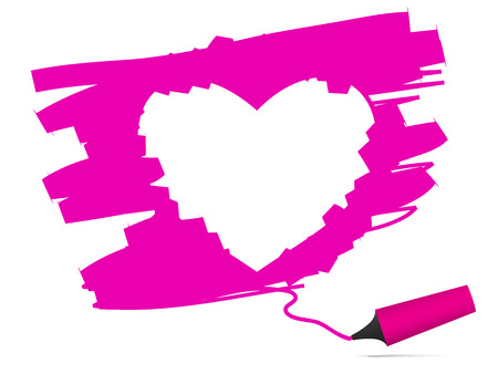 hot pink: Vector - Heart shaped symbol formed by a highlighter pen. Concept:  Illustration