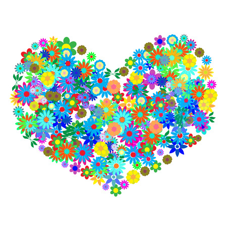 Vector - Heart shaped symbol formed by hundreds of flowers or floral patterns. Concept: Romance Vector