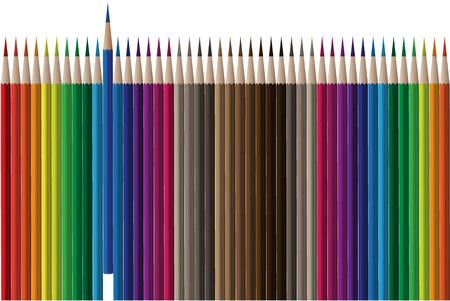 knutsel spullen: Vector - Rijen van kleurrijke en heldere kleur potloden.