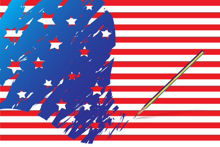 Vector - American flag sketched out using a pencil. Concept: Election day. Vector