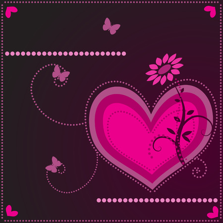 Vector - Heart shaped symbol with floral and nature background. Concept: Romance Stock Vector - 2340156