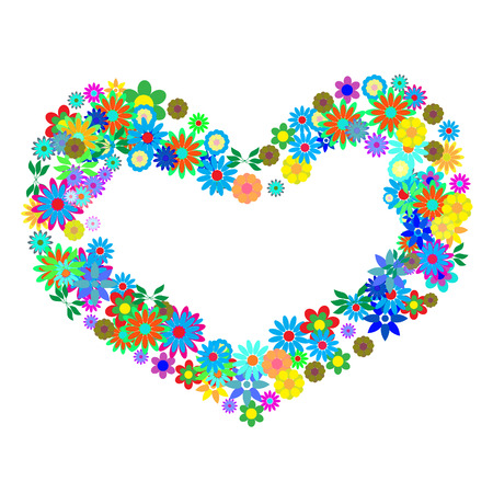 Vector - Heart shaped symbol formed by hundreds of flowers or floral patterns. Concept: Romance Stock Vector - 2406155