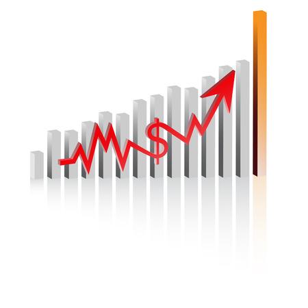 earnings: Vector - Diagramm zeigt Anstieg der Gewinne oder Profite in 3D mit Schlagschatten.
