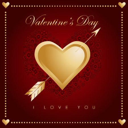 Vector - Valentines day card with hearts and arrow. Hundreds of flowers decoration in the background. Vector