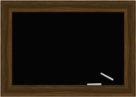 chalks: Vector - Blackboard with wooden frames and two white chalks.