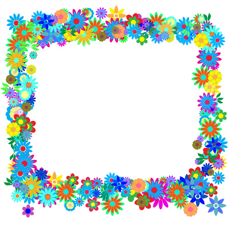 Vector - Frame formed by hundreds of flowers or floral patterns. Illustration