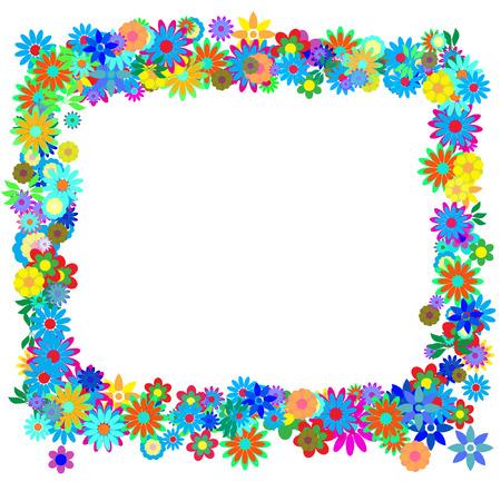 Vector - Frame formed by hundreds of flowers or floral patterns. Illustration