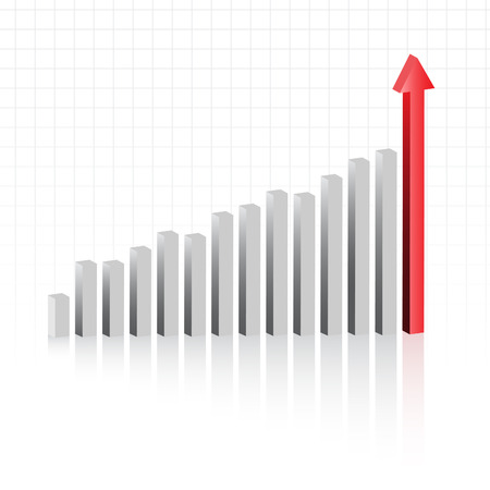 volatile: Vector - Graph showing rise in profits or earnings in 3D with drop shadow.