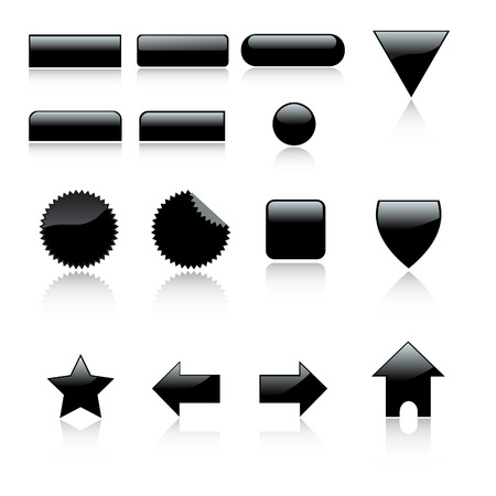 Vector - 3D Web 2.0 icon set labels with reflection. Vector