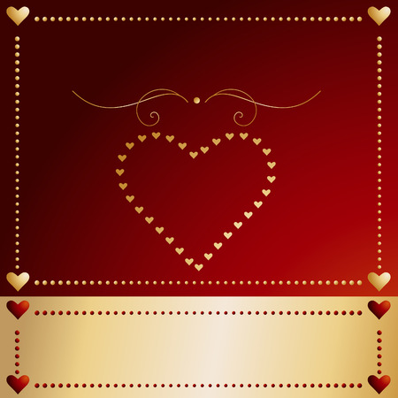 Vector - Valentines day card with hearts and a golden banner. Vector