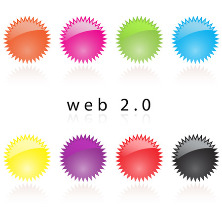 reflective: Vector - Web 2.0 reflective internet star labels with reflection in various colors.