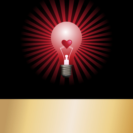 incandescent: Vector - Bright and glowing light bulb with star burst effect and a valentine heart in the center as the filament. Concept: Heated passion. Illustration