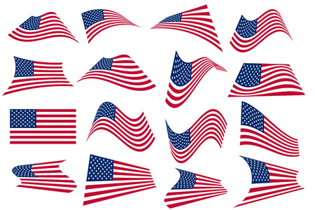 Vector - Many American USA flags waving in different styles for banner or icon use. Vector