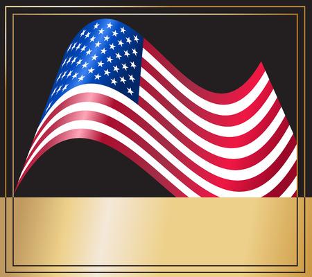 Vector - American USA flag waving with metallic or metal effect. Vector