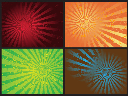 discolored: Vector - Star burst grunge retro effect, 4 different effects and colors.