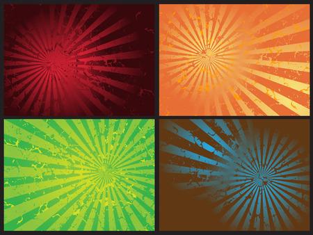 dull: Vector - Star explosi�n grunge retro efecto, el 4 de distintos colores y efectos.  Vectores