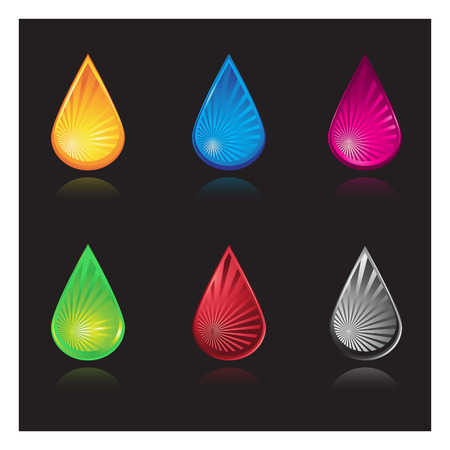 organic fluid: Vector - Water droplets with various colors and reflections. Illustration