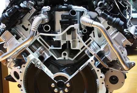 Car engine part - Close up image of an internal combustion engine. Stock Photo - 2429631