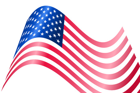 star spangled: Vector - American USA flag waving with metallic or metal effect.