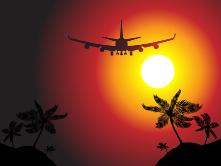 elvonult: Vector - Air plane flying over a beach island towards sunset. Concept: Vacation travel.