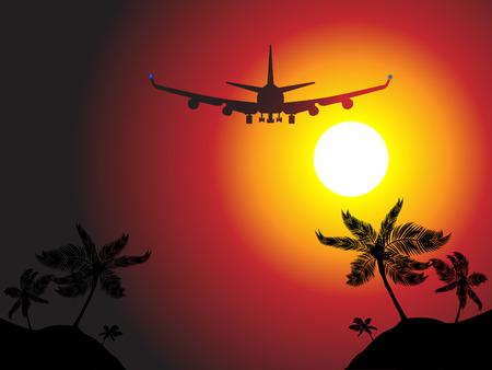aerei: Vettore - volo piano dellaria sopra unisola della spiaggia verso il tramonto. Concetto: Corsa di vacanza.