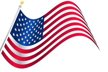 star spangled: Vector - American USA flag waving with metallic or metal effect and pole. Illustration