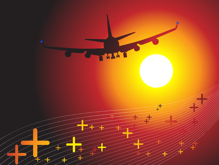 secluded: Vector - Air plane flying towards sunset. Concept: Vacation travel.