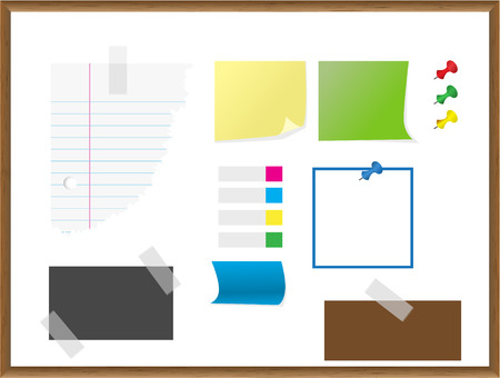Vector - Various pieces of paper, notes, documents, card. Stationery collection.