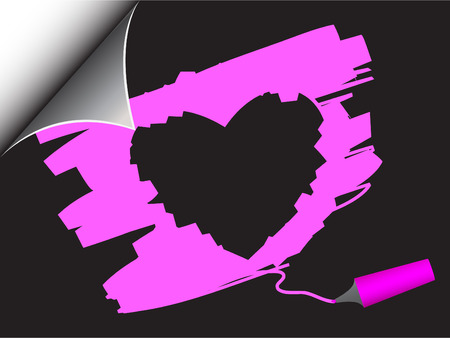 Vector - Black paper with realistic page curl and valentines heart scribble. Copy space for image or text. Vector