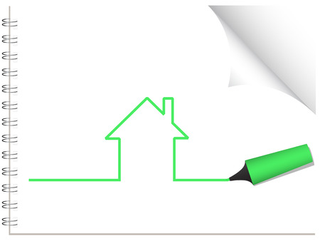 Vector - House being drawn with a highlighter pen. Concept: Housing Stock Vector - 2472114