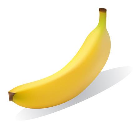 platano maduro: Vector - Bright amarillo pl�tano maduro con la sombra cayente. Concepto: merienda saludable.  Vectores