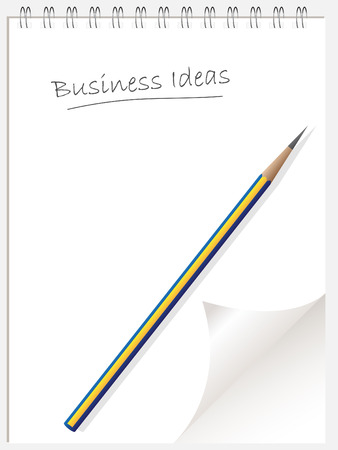 sharp curve: Vector - business idea list note pad or note book with page curl and pencil. Copy space for image or text. Illustration