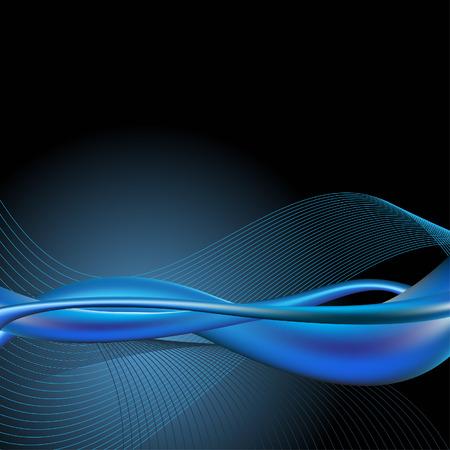 compatible: Vector - Dynamic r�tro lisse vague bleue pour l'utilisation de fond. Compatible avec Illustrator.