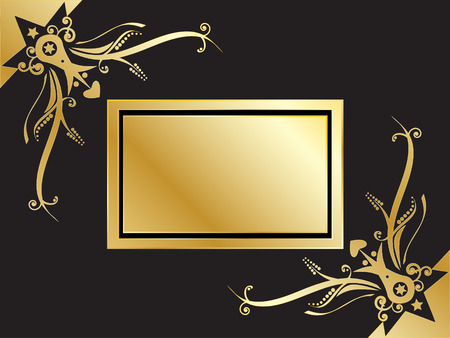 Vector - Book with golden emblem with frame corners. Copy space for image or text. Vector