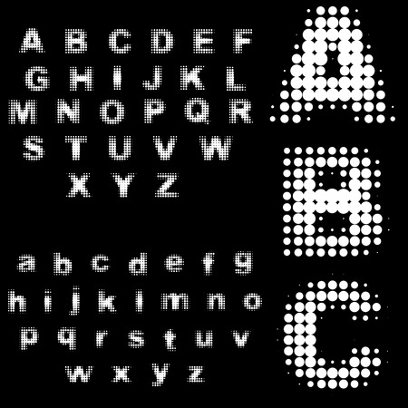 Vector - Retro 70s and 80s halftone dots in black and white alphabets. Vector