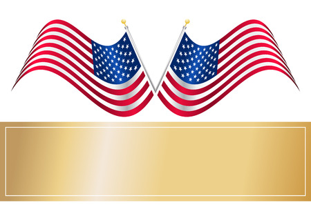 Vector - American USA flag waving with metallic or metal effect and pole. Vector