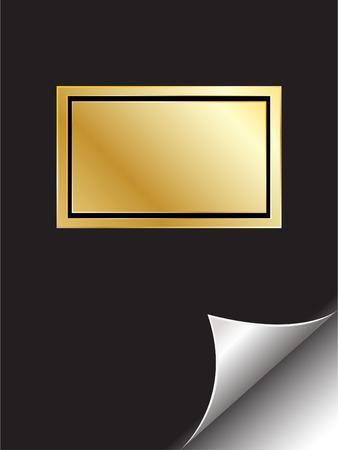 photo album page: Vector - Libro de oro con el emblema con la p�gina curl. Copiar espacio para la imagen o texto.