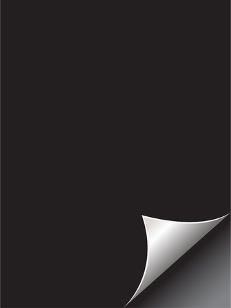novel: Vector - Black paper with realistic page curl. Copy space for image or text.