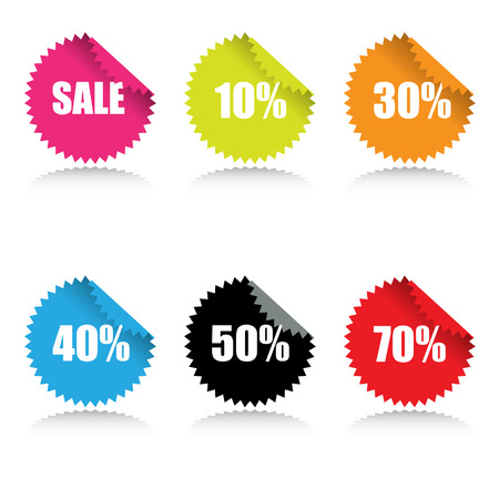 Vector - Glossy sale tag stickers with discount and reflection.