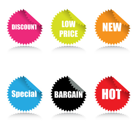 Vector - Glossy sale tag stickers with reflection and various sales pitch. Stock Vector - 2599954
