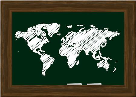 white chalks: Vector - Blackboard con marcos de madera y dos tizas blancas, mapa del mundo