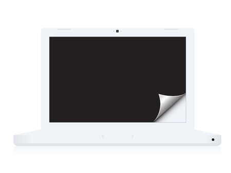 paper curl: Vector - Laptop notebook showing a black background with paper curl. Illustration