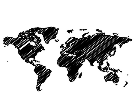 Vector - World  Global map sketch in black and white