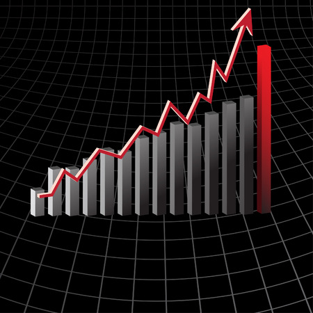 Vector - Graph showing rise in profits or earnings in 3D with drop shadow. Vector