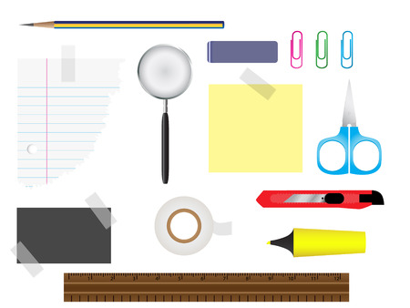 glass cutter: Vector - Stationery set with various writing equipment. Illustration